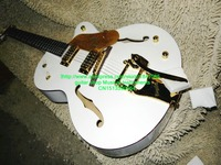 Sonho branco 6136 Semi Corpo Oco F Buraco guitarra Elétrica vibrato tailpiece ouro brilho ligação Miniatura Inlay