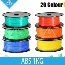1 kg 3d filamentos de impresora ABS 1.75mm/3mm 20 color plástico Caucho Consumibles Material de MakerBot/RepRap/UP/Mendel Envío Libre