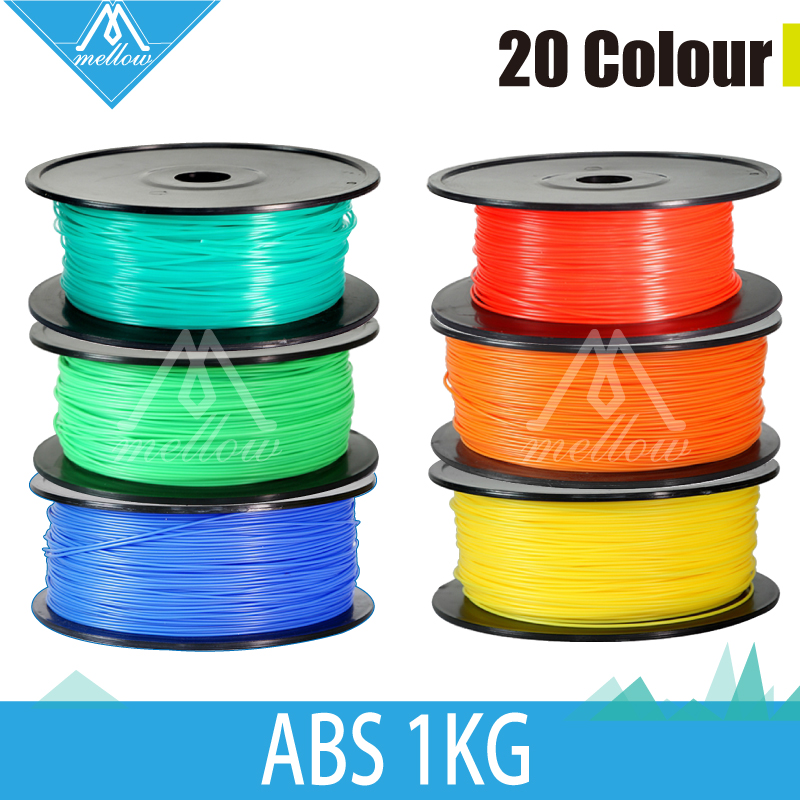 1kg 3d printer ABS filaments 1.75mm/3mm 20 colour plastic Rubber Consumables Material MakerBot/RepRap/UP/Mendel Free shipping 3d printer material pla filaments consumables 3mm 1kg plastic cable