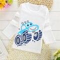 2017 primavera new long-sleeved das crianças Do Bebê 1-2 T Meninos Meninas T-shirt O-pescoço 100% Algodão tees crianças Roupas Brancas Caráter Bonito