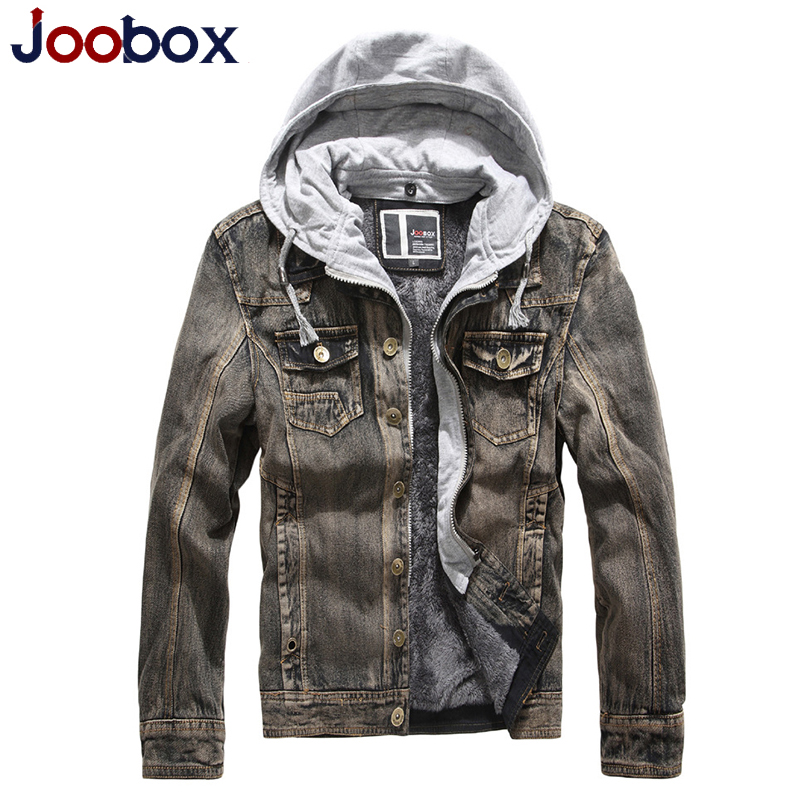 JOOBOX Brand 2017 New Winter Fashion Denim Jacket Men Casual Jeans Cotton Coats Hooded Outerwear Thicken Slim Fit young Clothing new hole blue jeans men 2016 fashion brand clothing casual jeans male fit jean for men cotton elastic denim pants c029 page 7