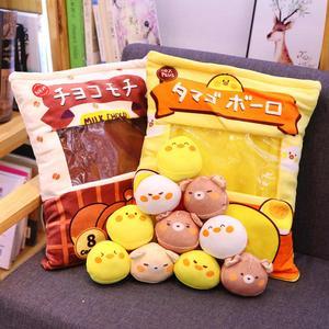 Image 3 - Nette Tiere Pudding Plüsch Spielzeug Mini Runde Bälle Küken Bär Pinguin Bunny EINE Tasche von Plushie 8 stücke Lebensmittel Snack spielzeug Plüsch Kissen
