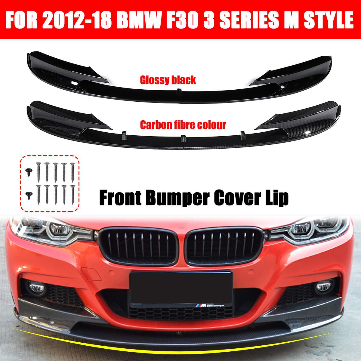 <font><b>1</b></font> Pair Front Bumper Cover Carbon Fiber / Black Lip Surface For BMW F30 3 Series M Style 2012 2013 2014 2015 <font><b>2016</b></font> 2017 2018 Only image