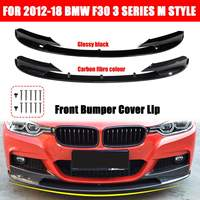 1 Pair Front Bumper Cover Carbon Fiber / Black Lip Surface For BMW F30 3 Series M Style 2012 2013 2014 2015 2016 2017 2018 Only