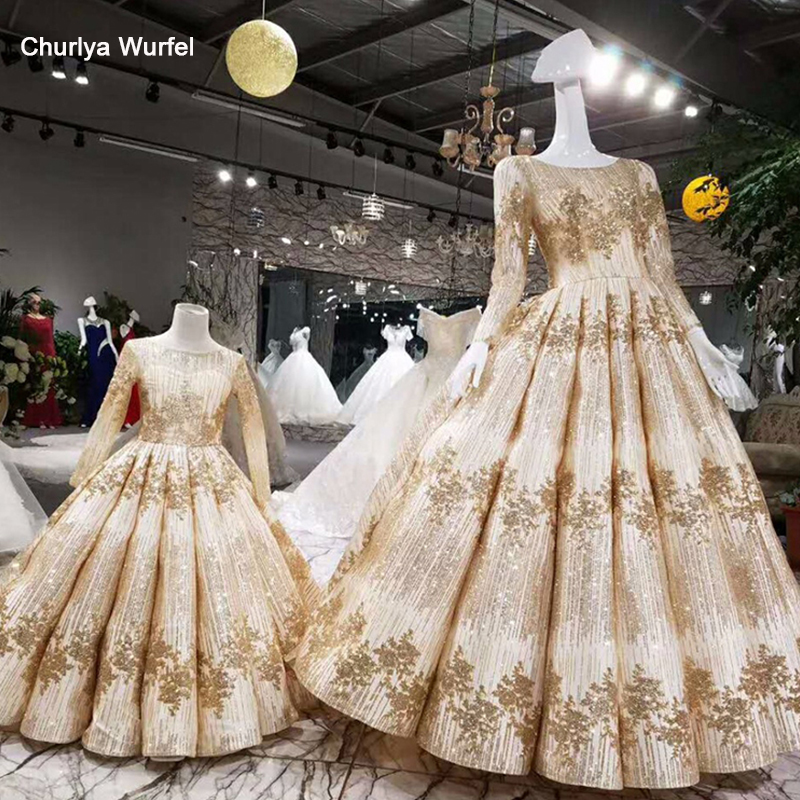 LSS008 Golden Flower Girl Dresses O-neck Long Sleeve Court Train Pageant Dresses For Little Girls Curve Shape Muslim Dresses