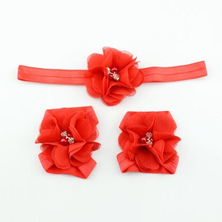 Детская повязка на голову; Детские босоножки ботинки со стразами и цветами; комплект с повязкой на голову; обувь; реквизит для фотосъемки; Детские аксессуары для волос - Цвет: red