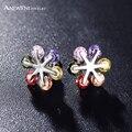 Anfasni flor das mulheres da forma brinco para casamento cor prata aaa zircão cúbico do parafuso prisioneiro brinco em jóias cer0211-b
