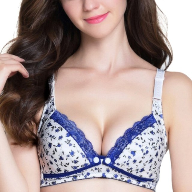 d989aa1a9f4 Floral Print PusY Up Lace Bralette B Cup Bra Women Wireless Bras Sexy  Luxurious Ladies Lingerie