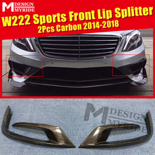 W222 2 Pcs Front Bumper Sports Car Lip Splitters Wing Spoiler Air Flow Vent Carbon Fiber Material Auto Styling 2014-18