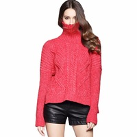 Turtleneck Knitted Sweater Women Thicken Warm Thermal 2017 Autumn Winter Luxury Runway Loose Plus Size Pullovers