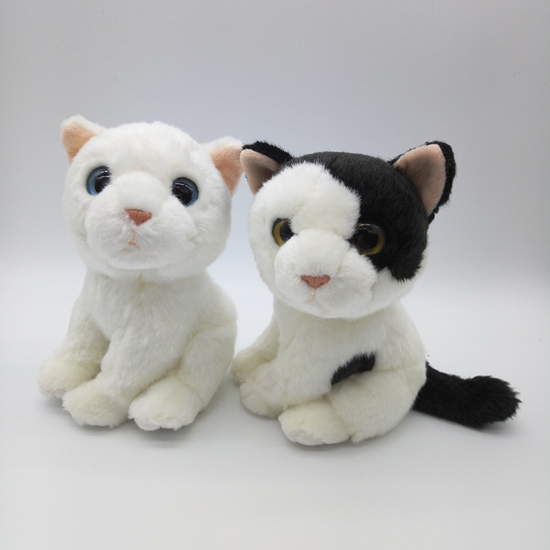 ff4fb639044 18CM Simulation White Cat Stuffed Toys Kawaii White Black Cats Plush Dolls  Soft Stuffed Animal