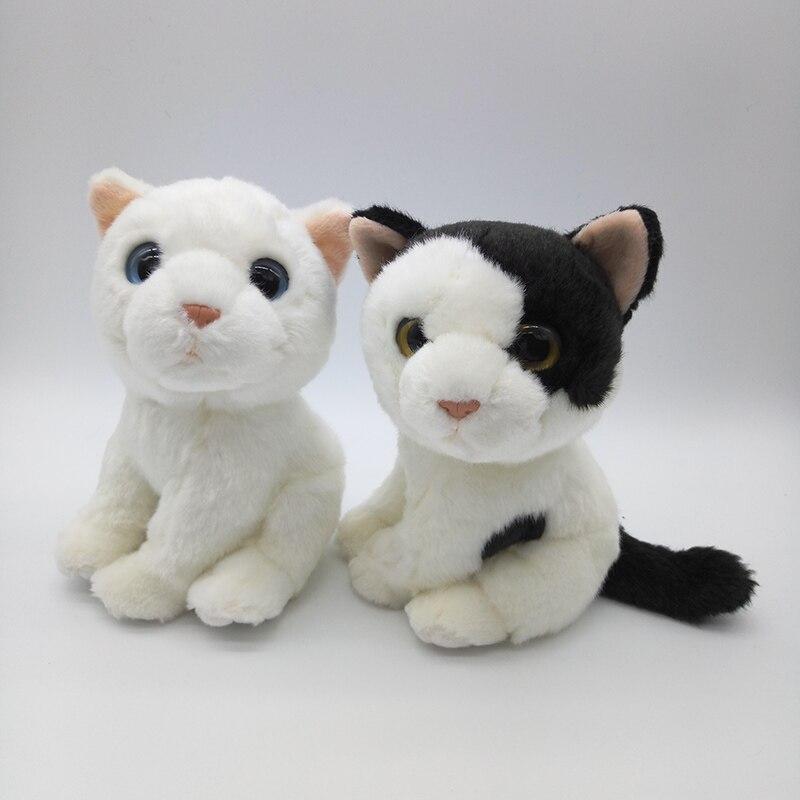 18cm Simulation White Cat Stuffed Toys Kawaii White Black Cats Plush