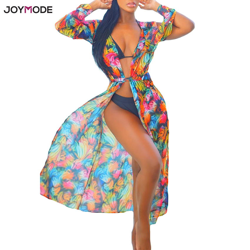 b9bc09ace4762 JOYMODE Beach Cover Up Floral Romantic Swimwear Ladies Pareo Beach Cape Sun  Bath Beach Wear Dress Chiffon Swimwear Long Tunic