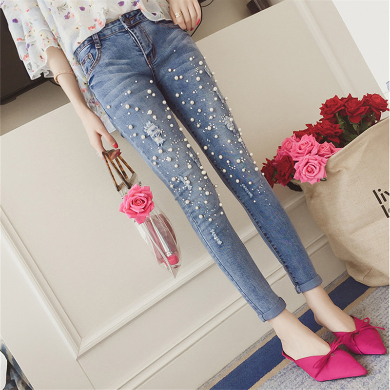 Women's Jeans 2018 New Fashion Pearled Denim Pants Pencil Pants Jeans Hole Ripped Slim Elasticity Trousers Denim