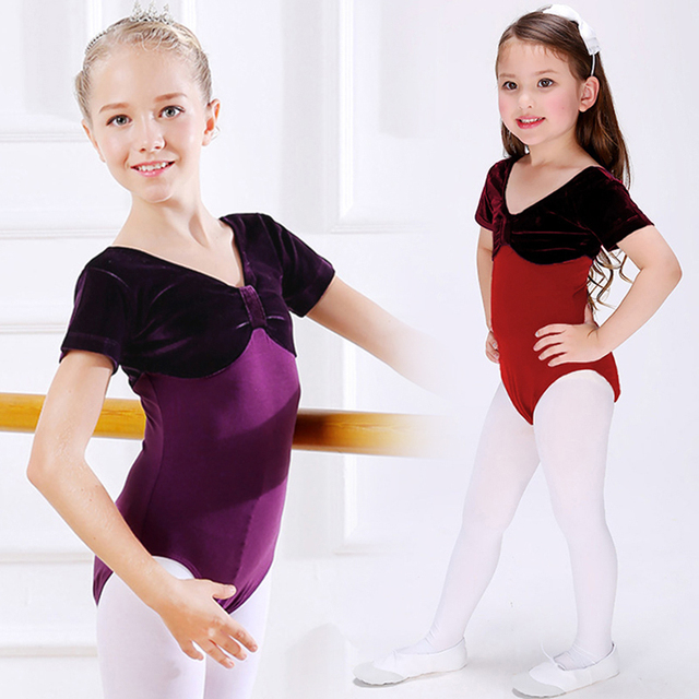 3bceaafe6 Girls Toddler Purple Dance Velvet Leotards Ballet Dance Wear Kids ...