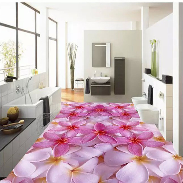 600x600mm 3D Splice Flower Bathroom Floor Tiles 3D Art