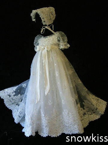 Gorgeous embroidery lace sparkly Beaded Christening Gown Baby Dress Newborn Outfit White/Ivory Baptism Robe With Sleeves Bonnet