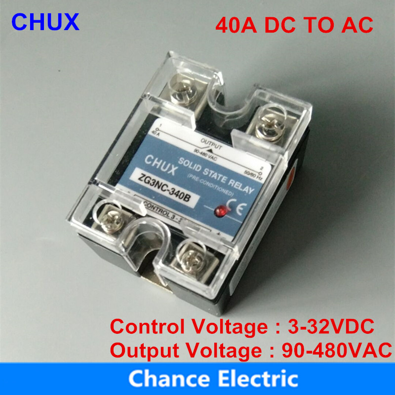 цена на Solid State Relay 40A black shell 3-32VDC 90-480VAC DC To AC popular sales model SSR -40DA
