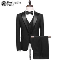 Desirable Time Mens Black Tuxedo Suit Slim Fit Costume Homme 2017 Fashion Brand Wedding Dress Suits