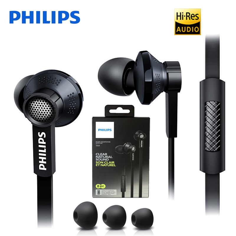 Energetic Philips Original Tx1 Hires Earphones High Resolution Hifi Mobile Noise Cancelling Headset For Xiaomi Galaxy S9 S9 Plus Up-To-Date Styling Earphones & Headphones