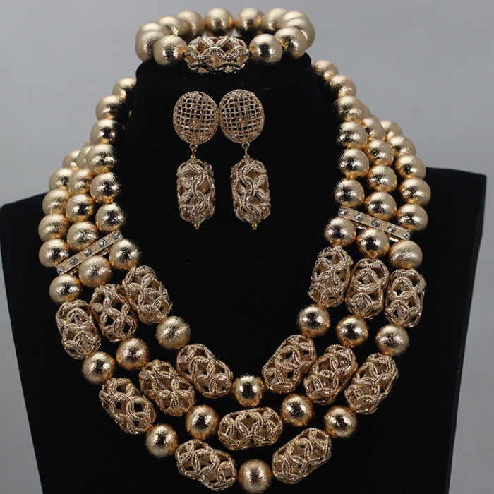 2016 Latest African Wedding Jewelry Set Gold Crystal Beads Bridal Necklace Jewelry Sets Free Shipping ALJ881 free shipping china manufacturer sell jewelry set italian gold color jewelry sets bridal elegant jewelry set
