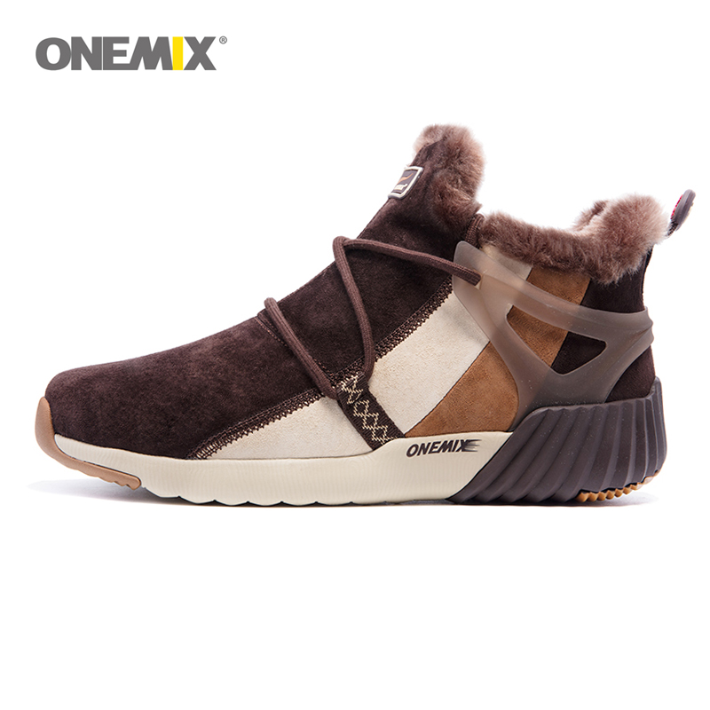 ONEMIX Vandtæt Snow Boots Kvinder Sneaker Mænd Trainers Walking Outdoor Athletic Komfortable Warm Wool Shoes Sports de loisirs
