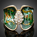 Jenia Brand Gold Plated Rhinestone Green Oil Painting Enamel Ring Bowknot Jewelry for Women XR023