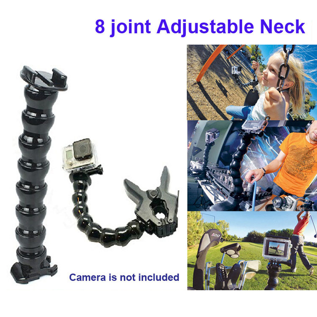 Free Shipping!!Accessories Jaws Flex Clamp Mount+8-joint Adjustable Neck for GITUP,Gopro Hero4/3+/3/2/1, SJ4000 SJ5000 Camera