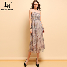 LD LINDA DELLA Summer Fashion Vintage Dress Womens Pleated Floral Printed Mesh Overlay Elegant High Waist Holiday Dresses 2019