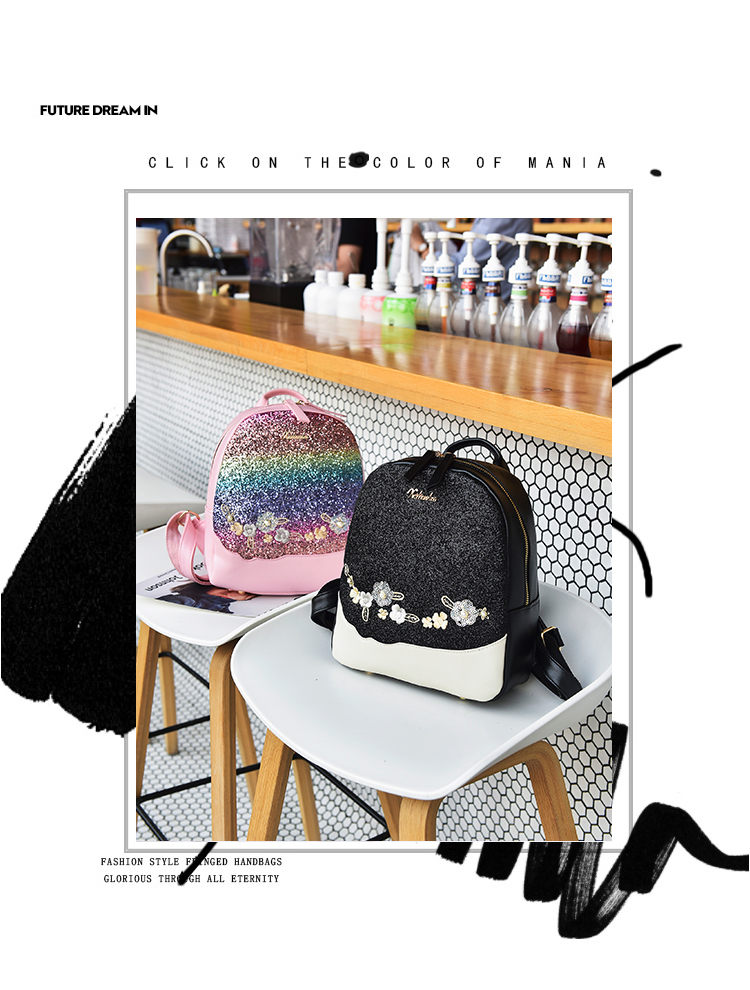 111525ffdb5ce2 Fashion Floral School Girls Bags Women Backpack Small Black PU Leather  Women s Backpacks Famous Brands mochilas Female Back Pack - shoes bags