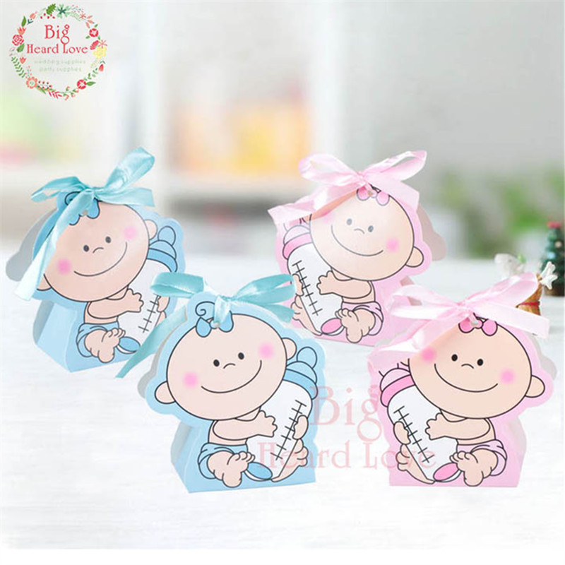 24pcs/set Baby Girl And Boy Paper Gift Box Party Baby Shower Candy Box Baby Feeding Bottle Birthday Party Decorations Kids Party