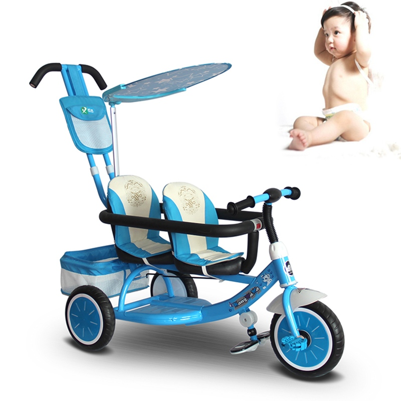 Adjustable Tricycle for Twins Safety Pram Twins Infant Tricycle Baby Twins Stroller Double Seats Multifunction Double Stroller double stroller red pink blue color twins infant stroller sale kids sleep comfortable more at ease sophisticated technologies