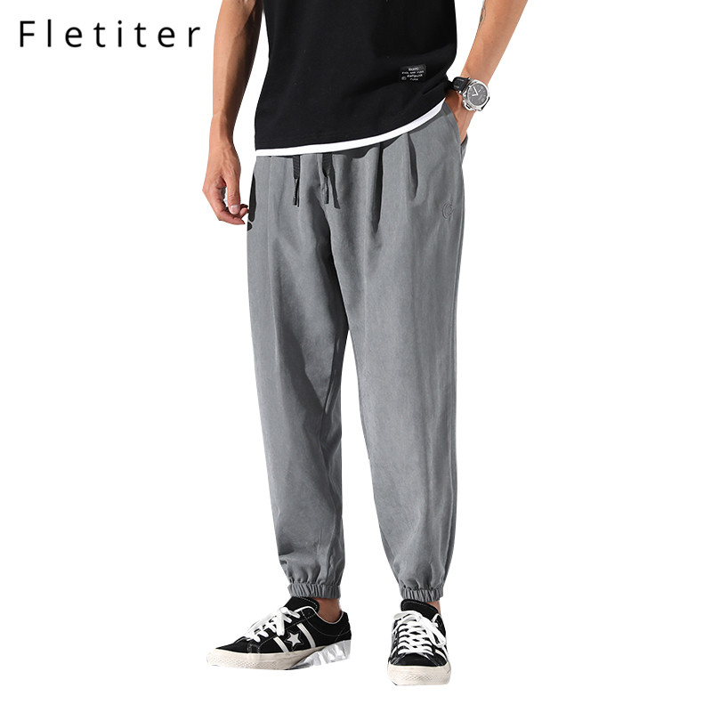 Fletiter Harem Pants Chinos-Trousers Joggers Cotton Hip-Hop Summer New-Fashion Causal