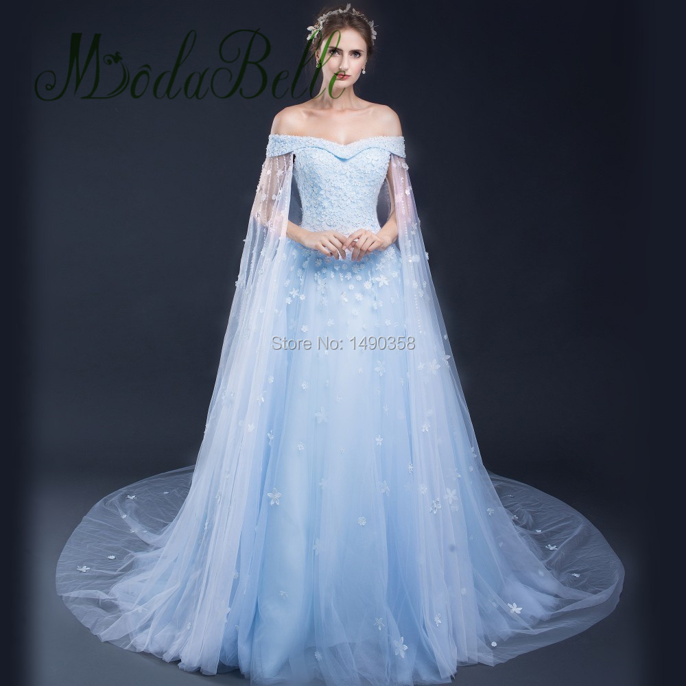 2017 light blue romantic lace wedding dresses with cape for Long blue dress for wedding