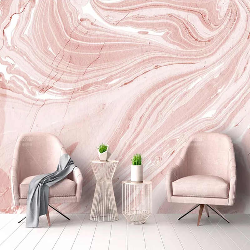 Custom Mural Wallpaper Modern Abstract Art Pink Stone Marble Photo Wall Murals Living Room Wedding House Romantic 3D Home Decor