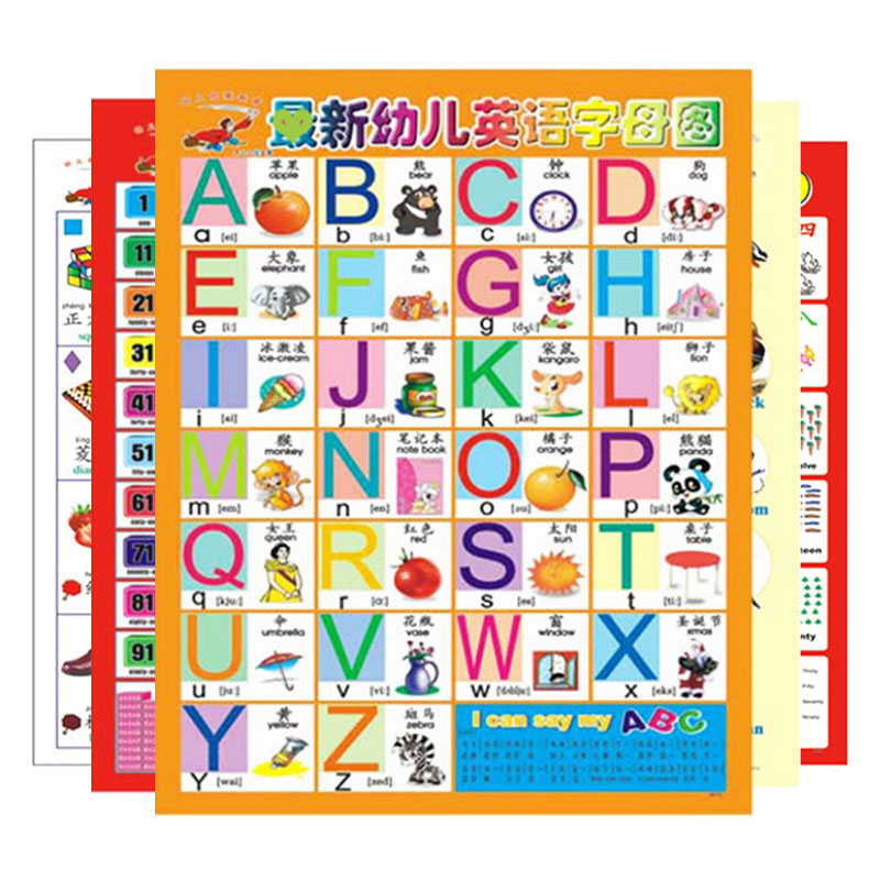 Number Alphabet Chart Kids Early Educational Toys Kid Phonetic ...