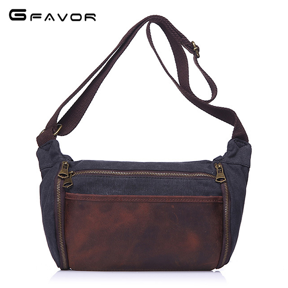 Messenger Bag Crazy Horse Leather&Canvas Flap Crossbody Bag Patchwork Single Shoulder Bags