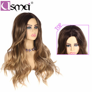 Image 2 - USMEI Long wavy wigs cosplay for women 26inches synthetic wig Blonde Brown Black Pink fake hair for choose 7 colors Ombre hair