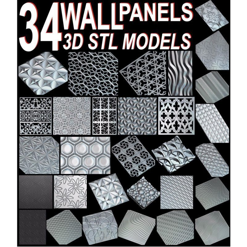 34pcs/set Wall Decor Panels 3D STL Model For Cnc ARTCAM ASPIRE MACH3