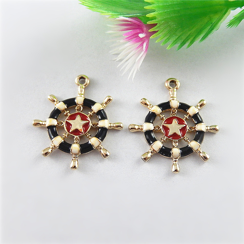 c32557653 10pcs/pack Rose Gold Anchor Star Enamel Black Necklace Pendant 28*24mm  Vintage Handmade Charm Man BabyGift Jewelry Craft 51531