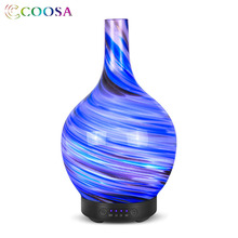 Coosa Essential oil Diffuser 100ml Art Vase Ultrasonic Aroma Mist  Humidifier 7 Color Change Lamp Air for Home Desk