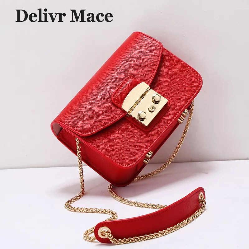 2abccf6c32cb Красная мини-сумка женская сумка на плечо модная Лоскутная кожаная сумка  через плечо женская 2018