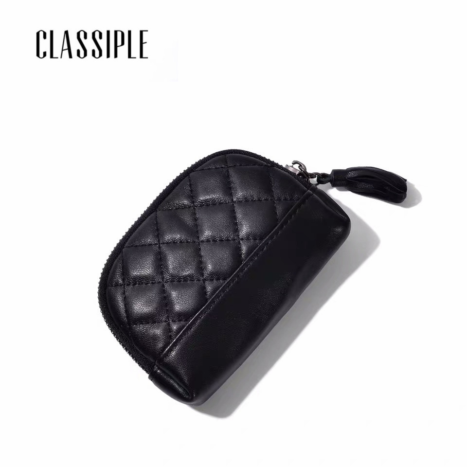 Black Women's Coin Purse Sheepskin Short Cute Mini Coin Bag Small Wallet Keychain Small Bag Coin Wallets Porte Monnaie Femme