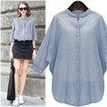 De gran tamaño de las mujeres 2016 mujeres del otoño blusas simple soporte de la manga del batwing del color sólido de las mujeres tops camisa de manga larga
