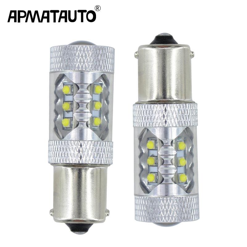 2x White 1156 led 80w Canbus Error Free S25 BA15s P21W LED Bulbs with cree chips for Volkswagen MK6 Jetta Daytime Running Lights