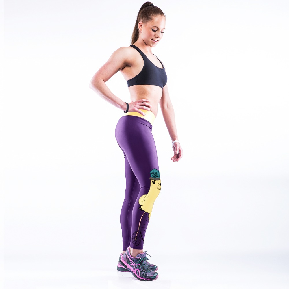 11179281278d46 NEW 005 Sexy Girl Purple Cute Yellow Dog acrobat Prints Slim High Waist  Workout Fitness Women Leggings Pants Trousers One Size-in Leggings from  Women's ...