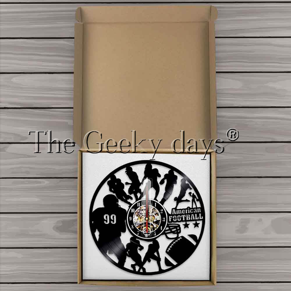 American Football Home Decor Modern Design Wall Clock Rubgy Football Players Silouette Vinyl Record Wall Clock Sports Lover Gift