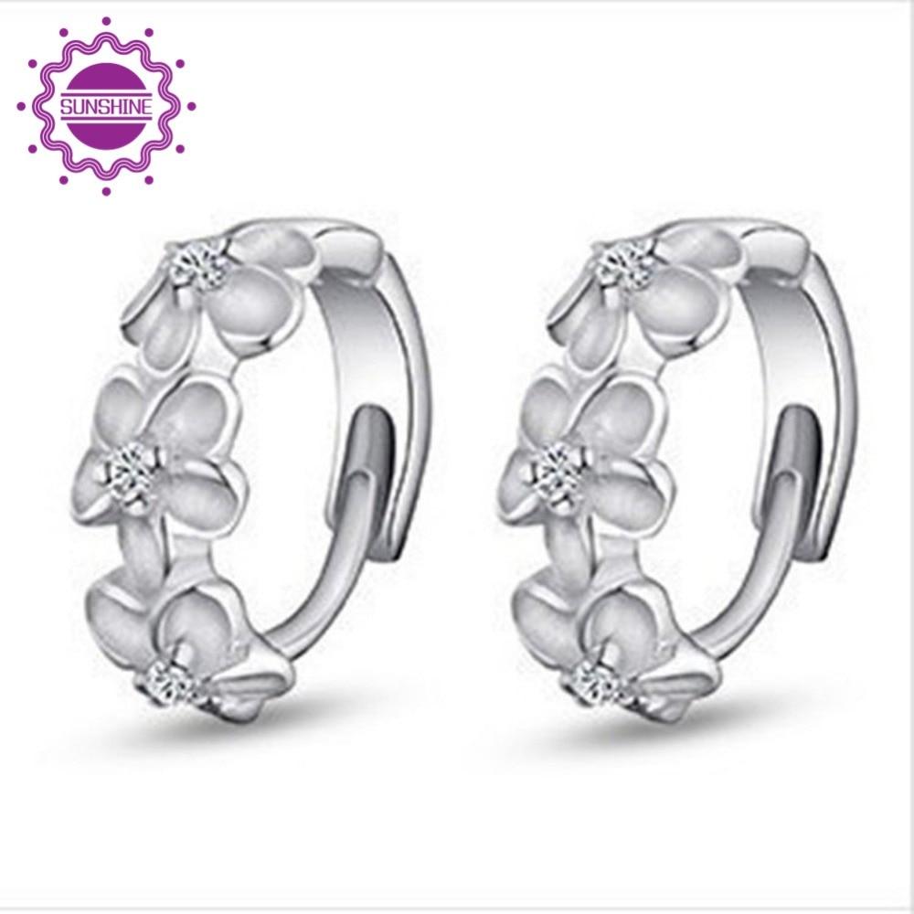Girls Trendy Earrings Flower Decorative Ear stud Silver Plated Ladies Elegant Earring Fine Jewelry