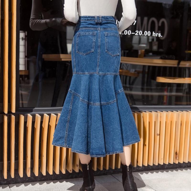 Nouvelle mollet Plus Mode Jupes Gratuite Taille Mi Denim Et Style Jeans 2018 Printemps S Femmes Sirène Livraison Pour Longue 2xl Été OqEzwCxO