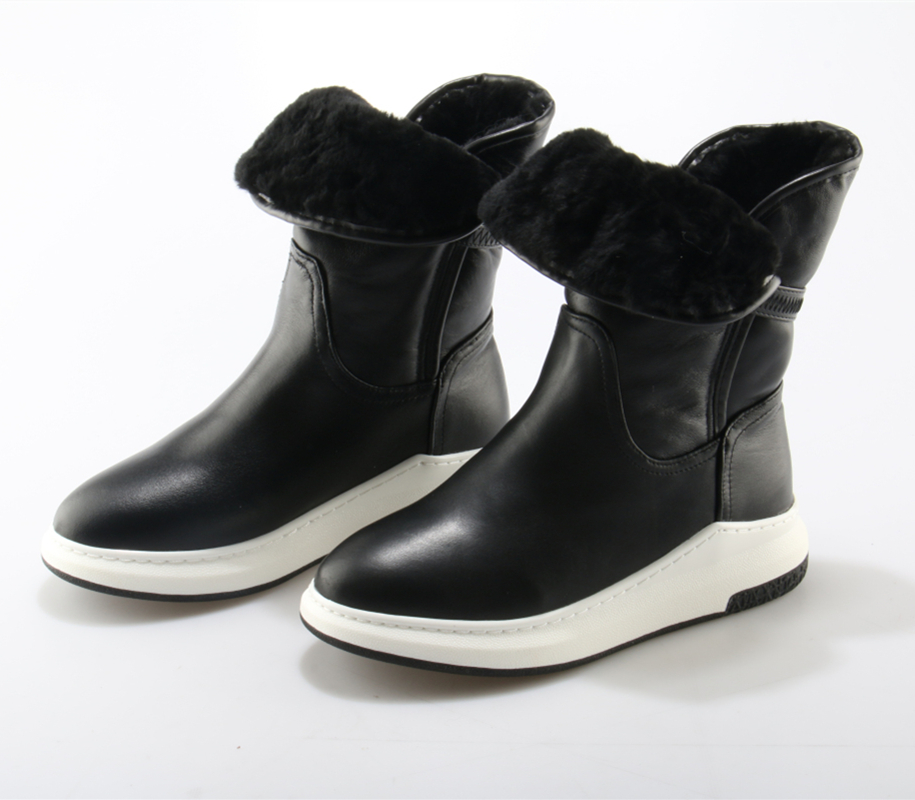 Black Fashion Platform Women Boots Warm Shearling Fur Leather Snow Boots Mid-Calf Round Toe Flat Winter Slip On Thick Heel Shoes big size new fashion women boots slip on mid calf flats shoes round toe winter snow boots solid plush soft leather shoes woman